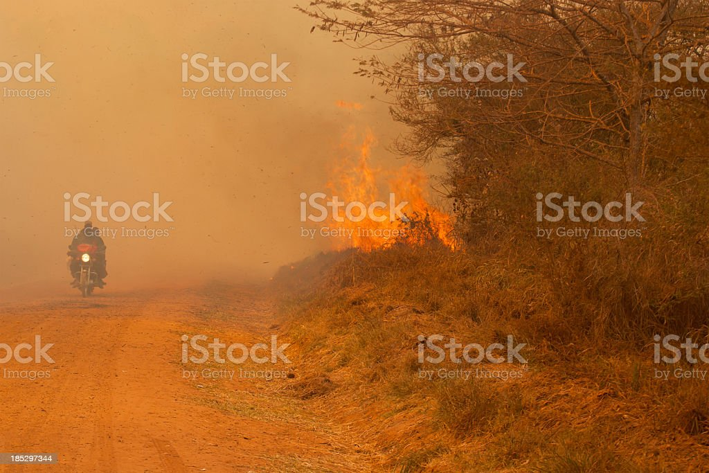 Just one image from Africa Road with fire stock photo