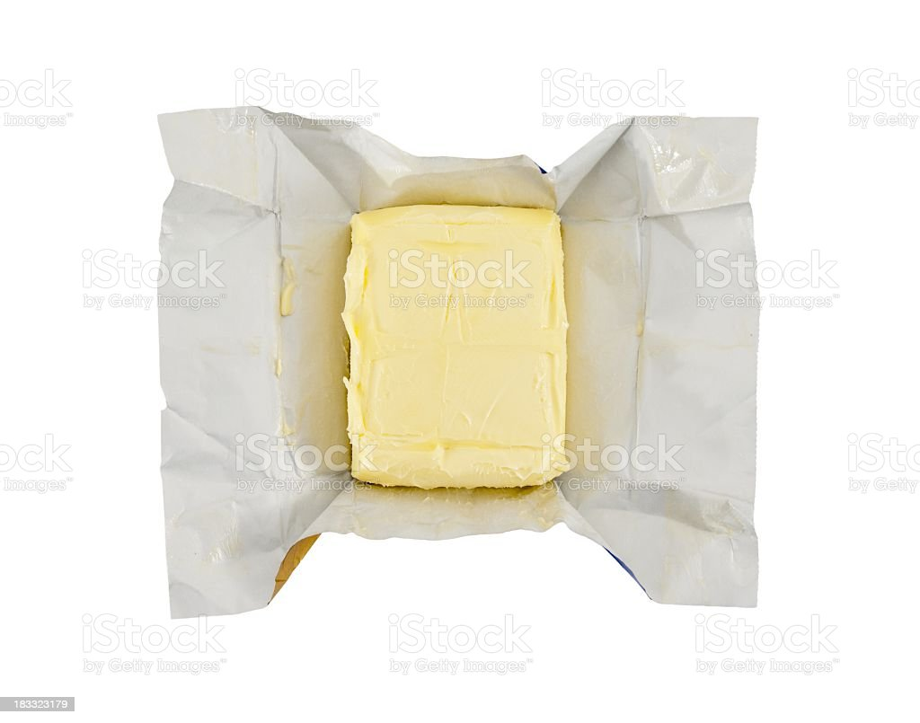 just opened butter, isolated on white background stock photo