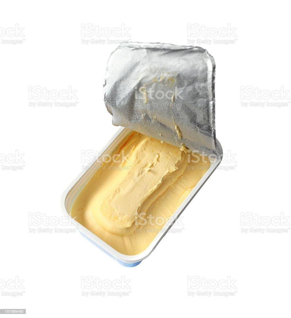 just opened margarine box - isolated on white stock photo