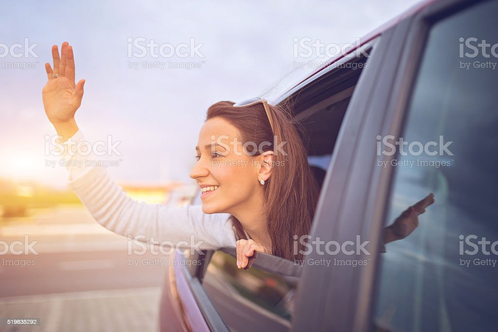 Just smile and wave stock photo