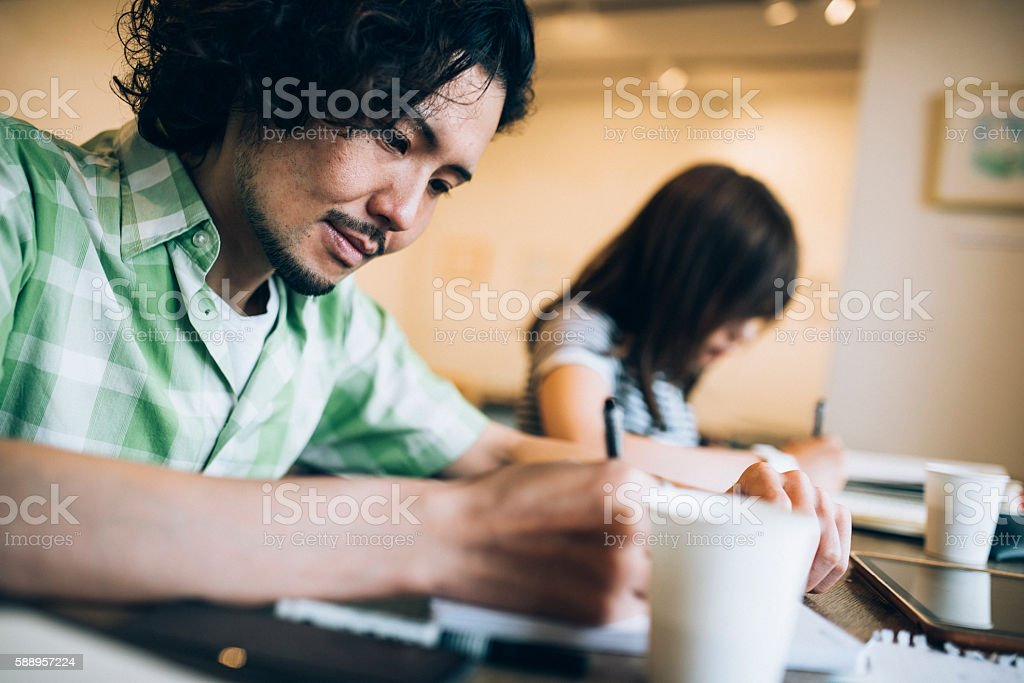 Just studying stock photo