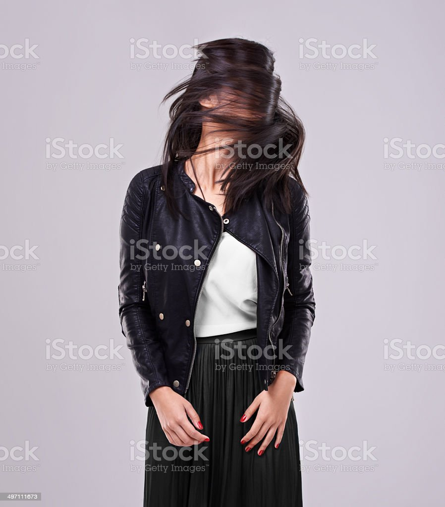Just trying this new thing with my hair.... royalty-free stock photo