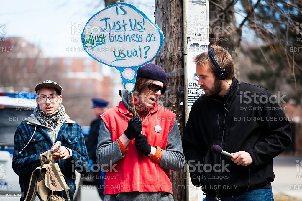 Just Us Coffee Protesters stock photo