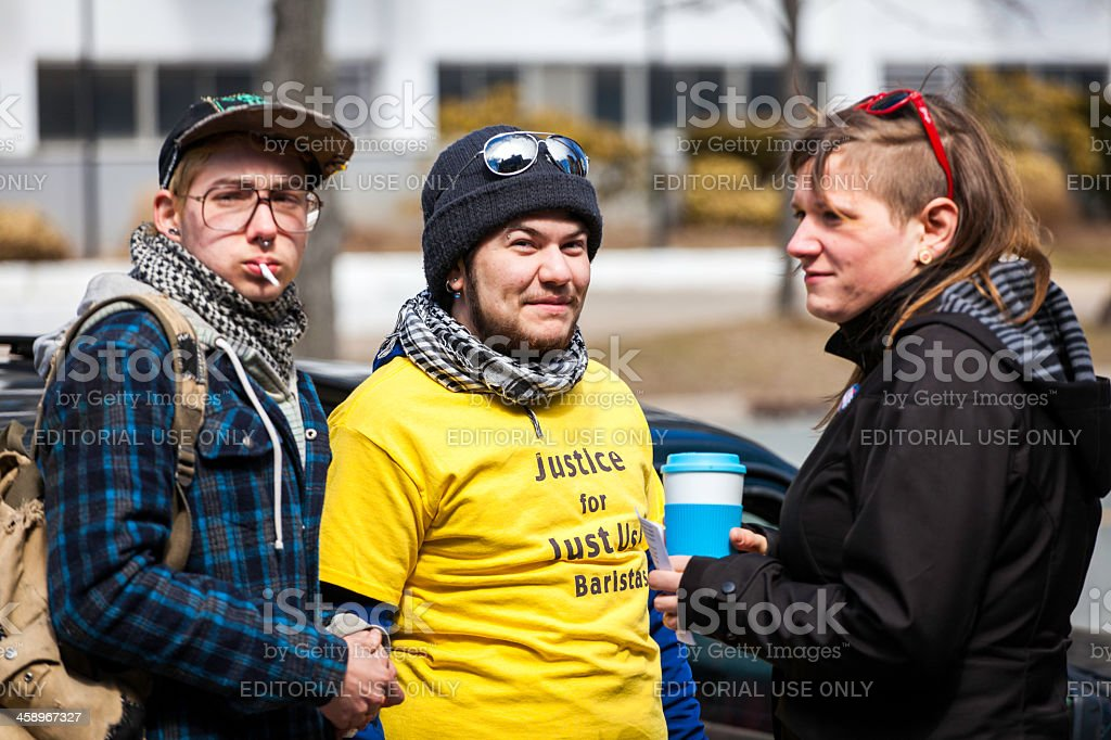 Just Us Coffee Protesters royalty-free stock photo