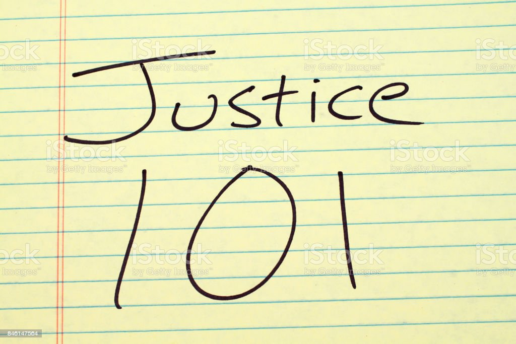 Justice 101 On A Yellow Legal Pad stock photo