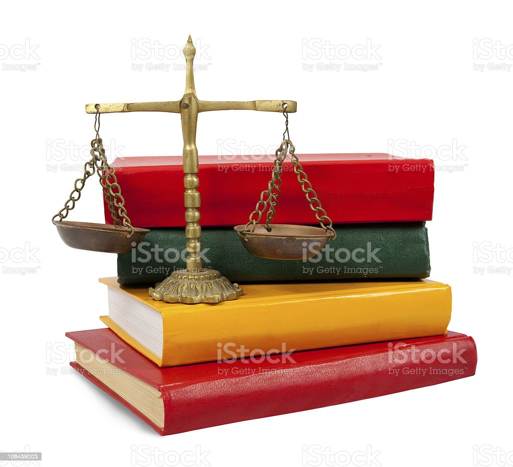 justice concept, book and scales royalty-free stock photo