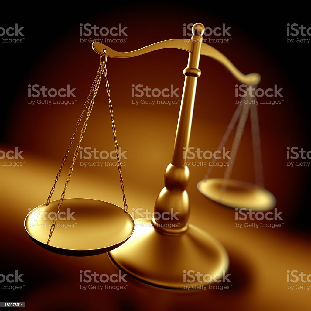 Justice concept - scales with depth of field royalty-free stock photo