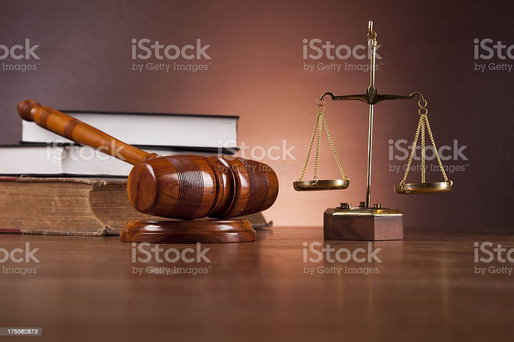 Justice concept with gavel on dark background royalty-free stock photo