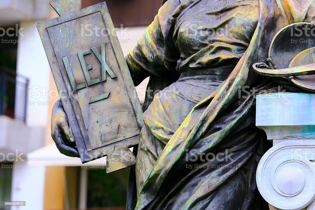 Justice for all: Themis Goddess, Lex Law word, Recoleta Cemetery stock photo