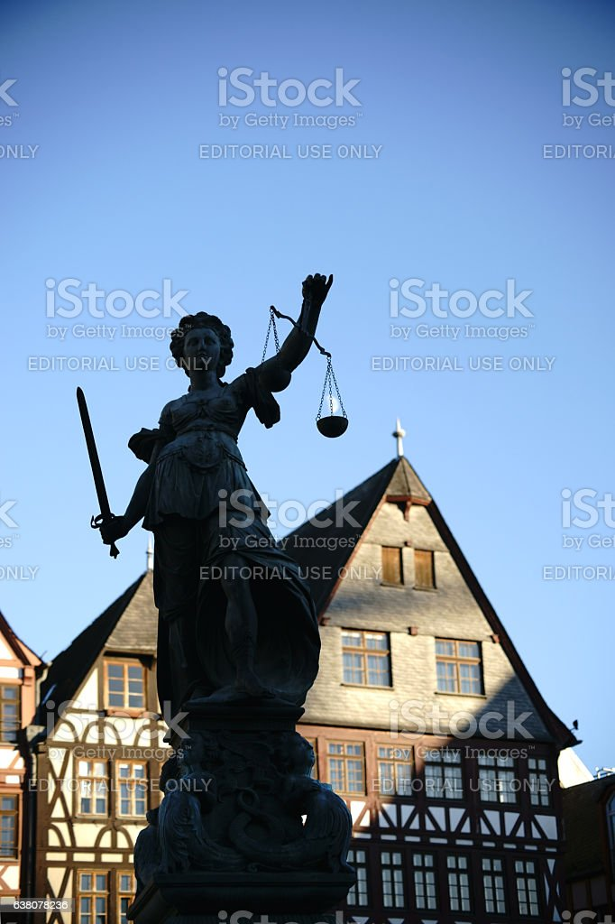 Justice Fountain Frankfurt stock photo