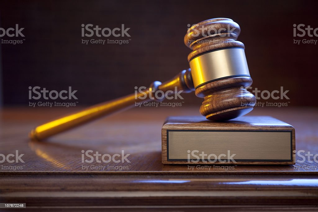 Justice Gavel And Block On Judge's Bench With Blank Plaque royalty-free stock photo