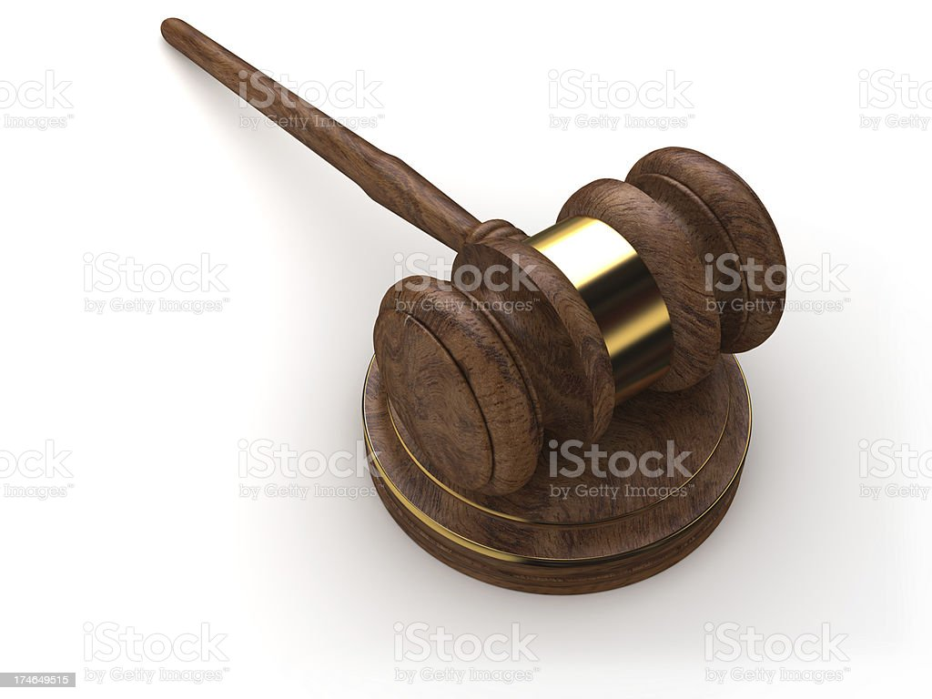 Justice gavel on a white stock photo