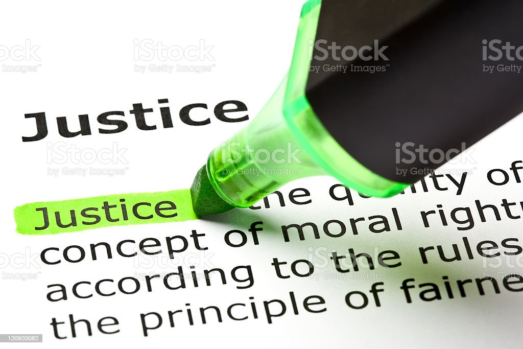 'Justice' highlighted in green royalty-free stock photo