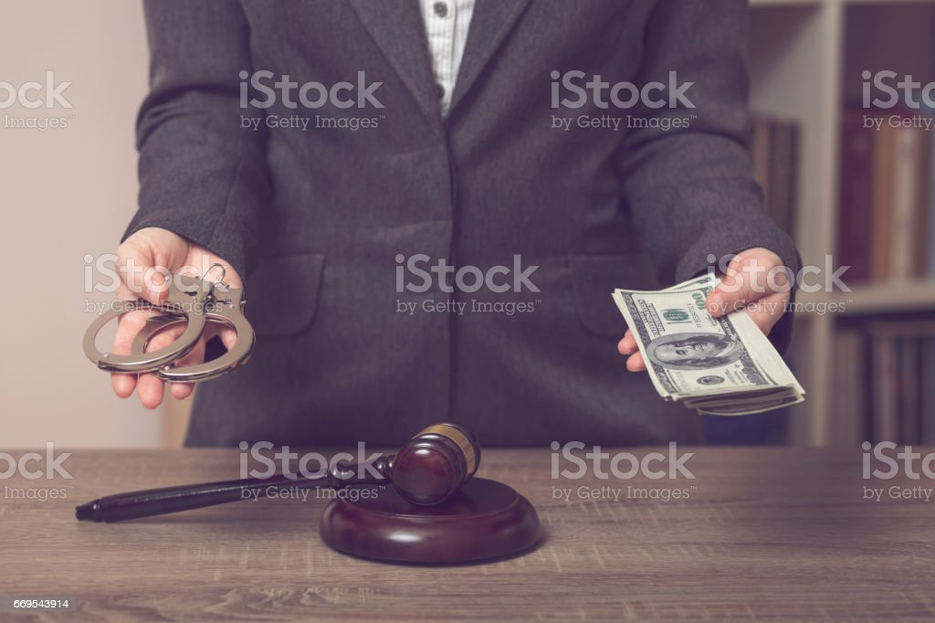 Justice or bribe stock photo