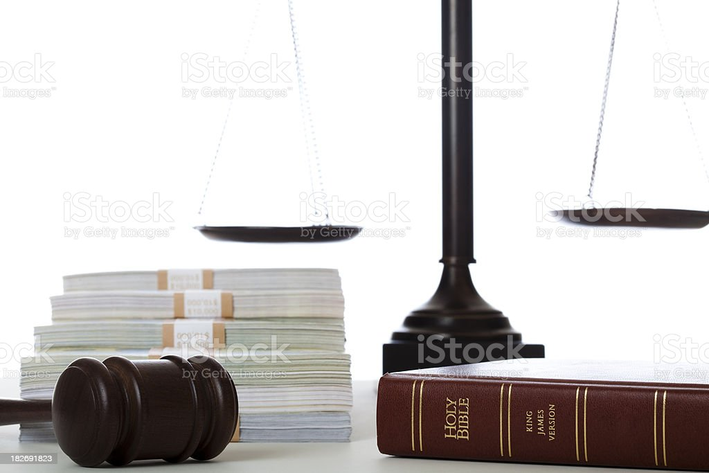 Justice religion and money royalty-free stock photo
