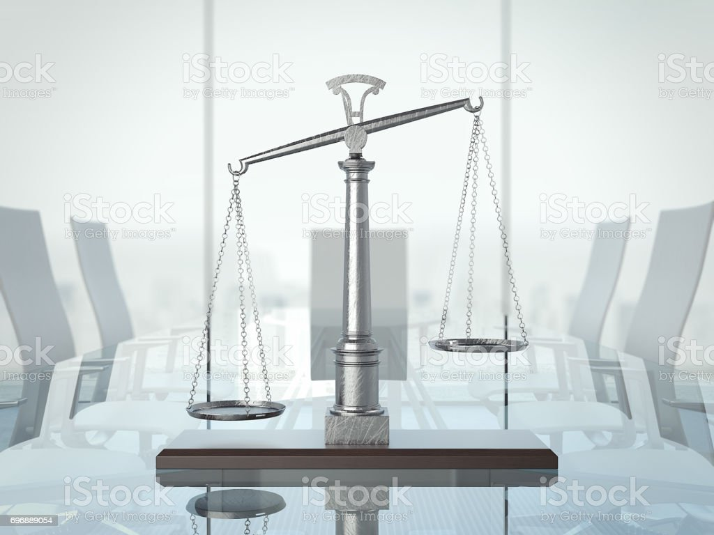Justice scales on the glas table. 3d rendering stock photo