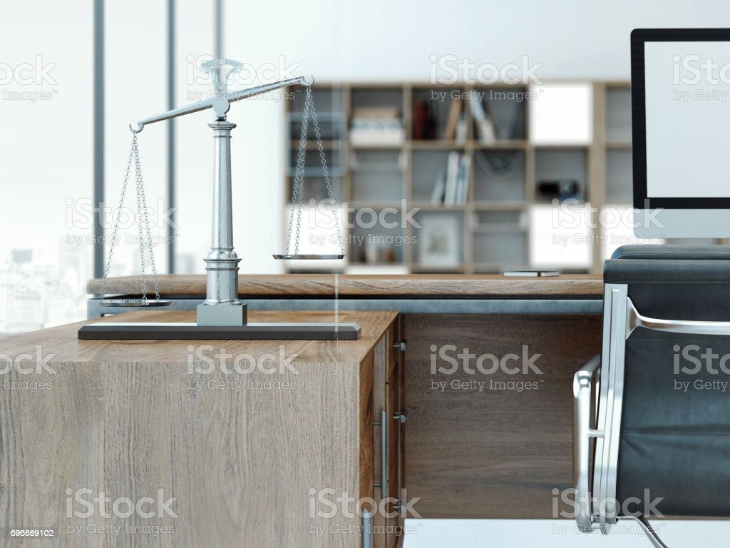 Justice scales on the wooden table. 3d rendering stock photo