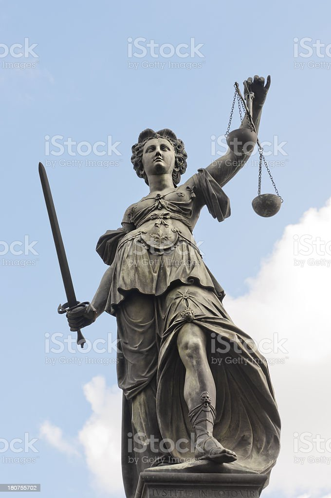 Justicia sculpture stock photo
