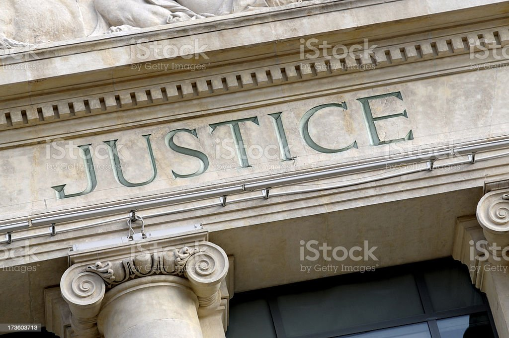 Justice sign stock photo
