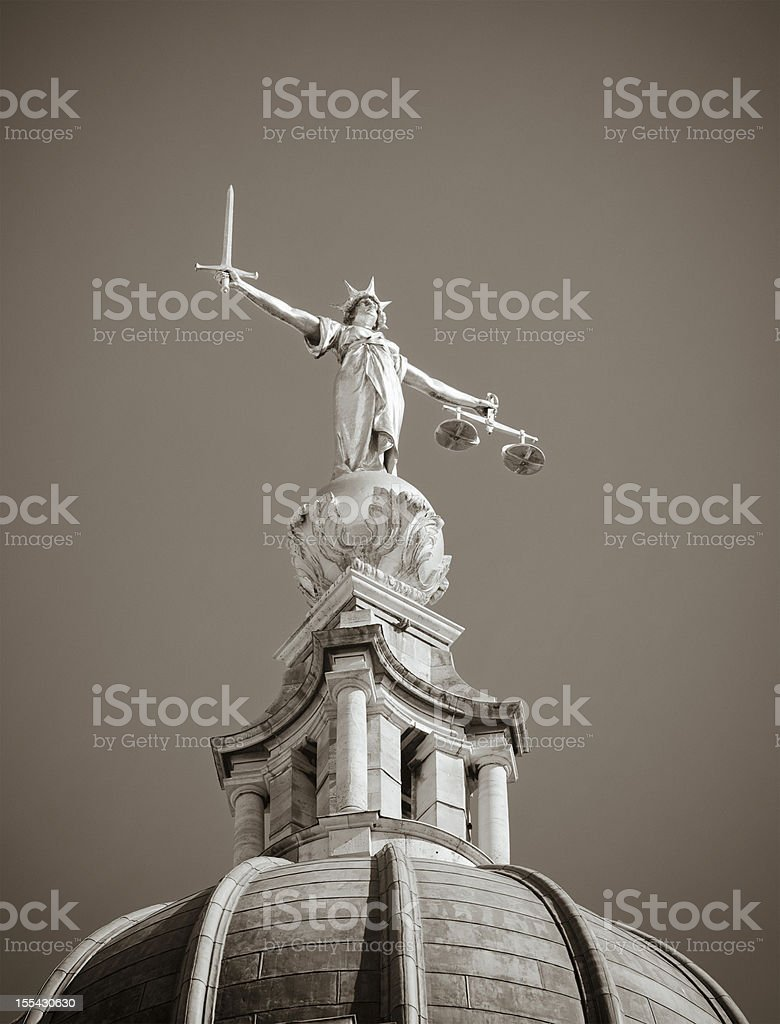 Justice Statue in Black and White stock photo