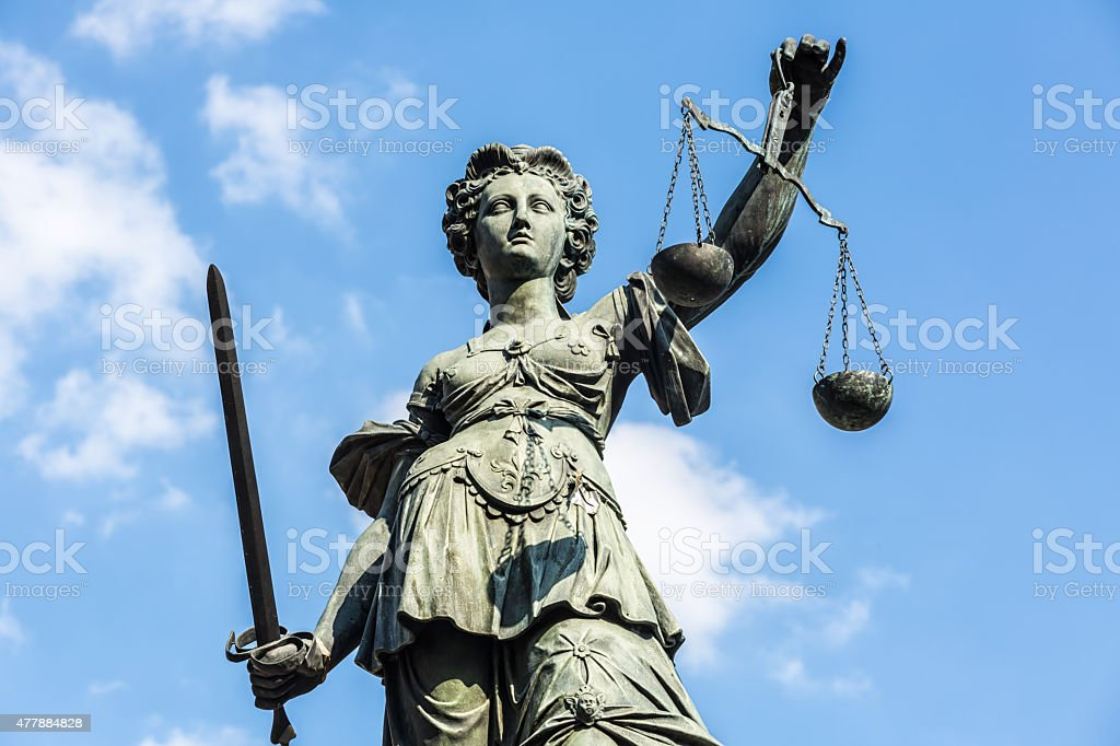 Justice statue in Frankfurt stock photo