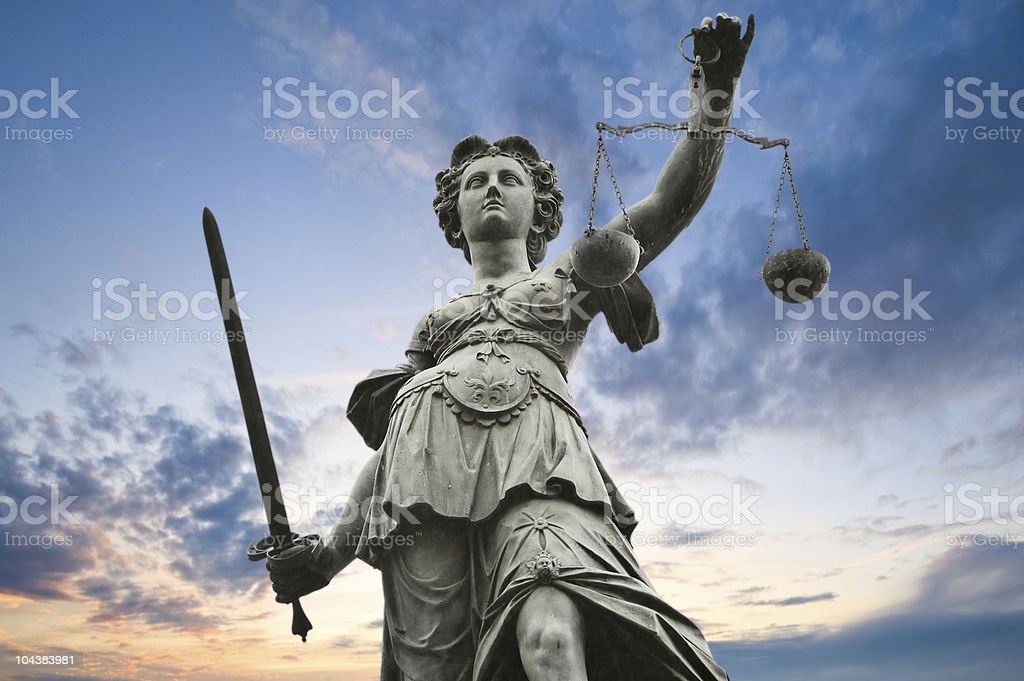 justice statue stock photo