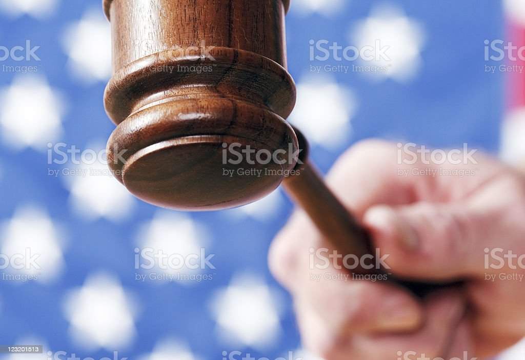 US Justice with gavel in close up royalty-free stock photo
