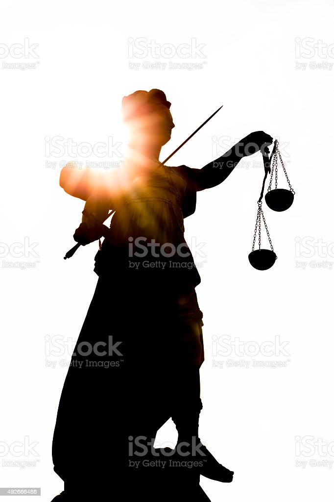 Justice with sunlight in Frankfurt stock photo