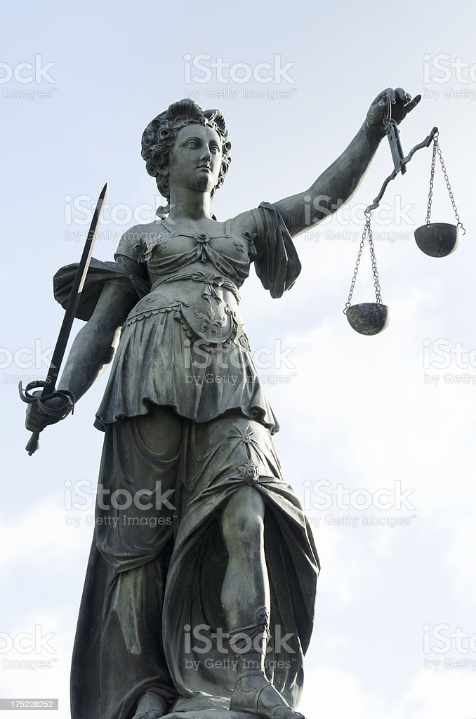 Justicia - sculpture at justice fountain in Frankfurt City, Germany stock photo