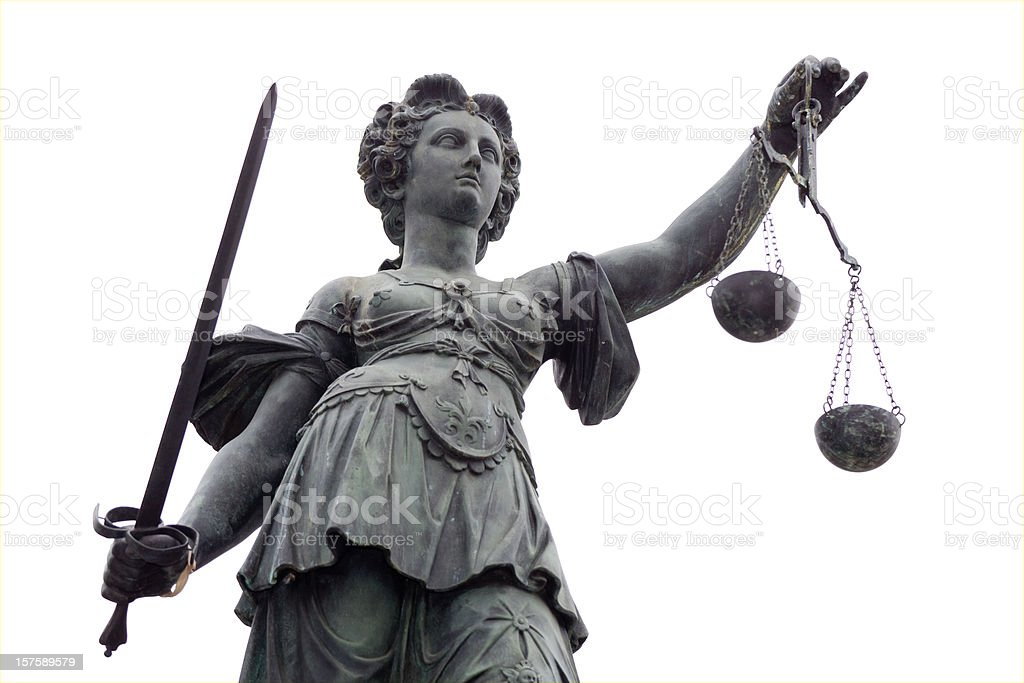 Justicia statue isolated on white royalty-free stock photo