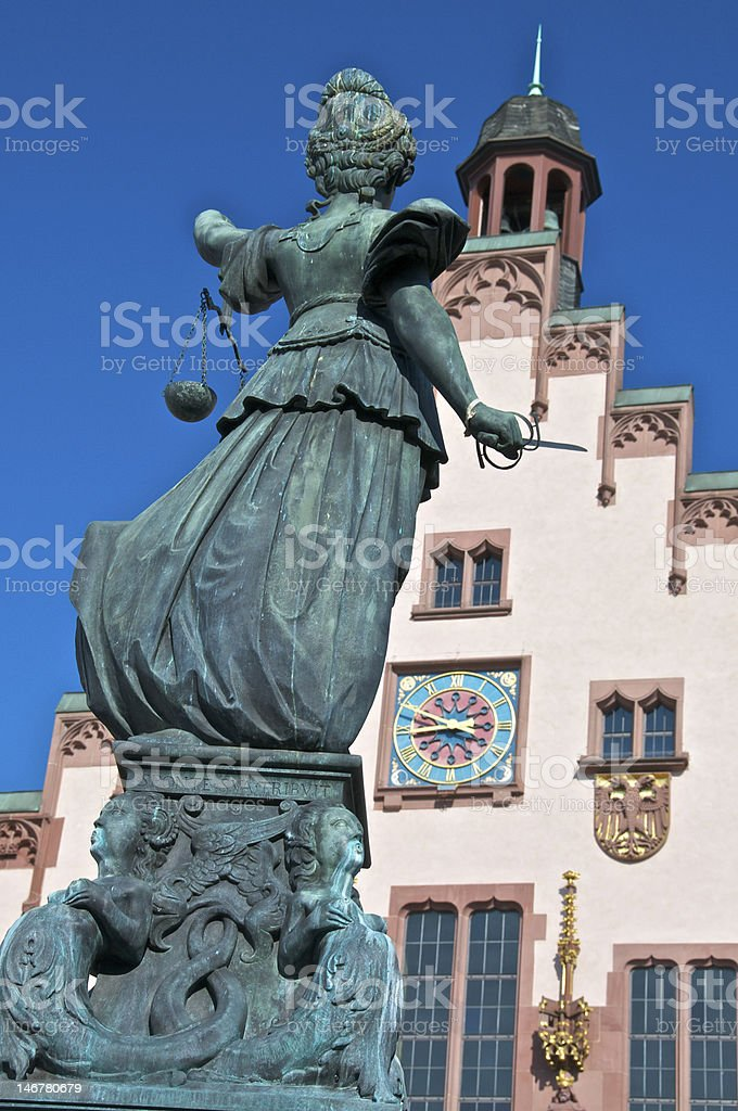 Justicia with sword and scales in Frankfurt's Römerberg stock photo