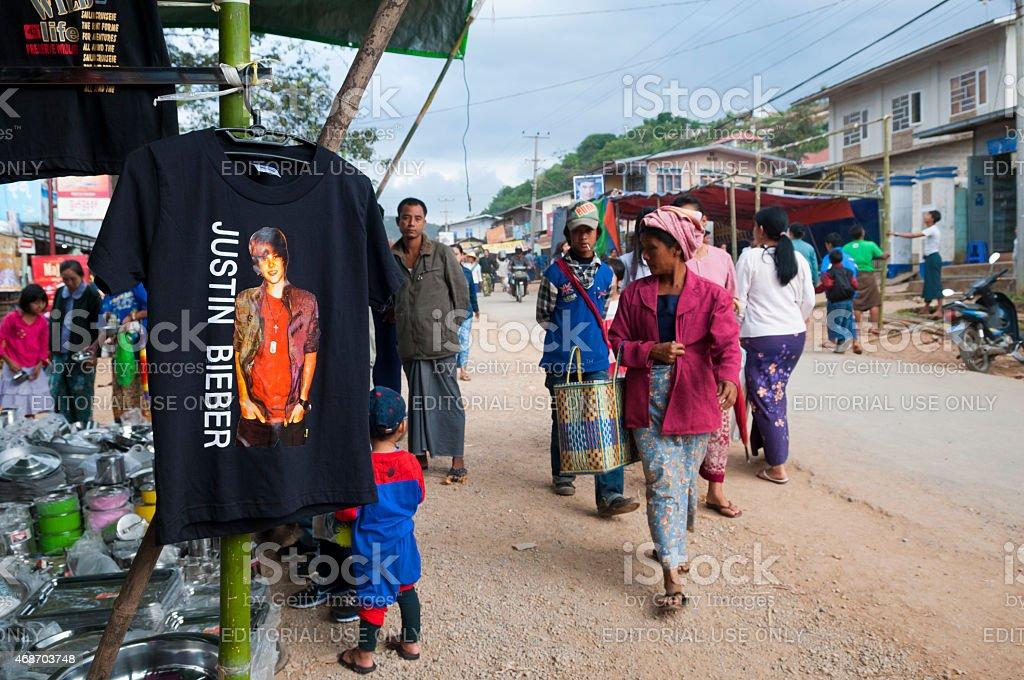 Justin Bieber t-shirt for sale in Taunggyi, Burma stock photo