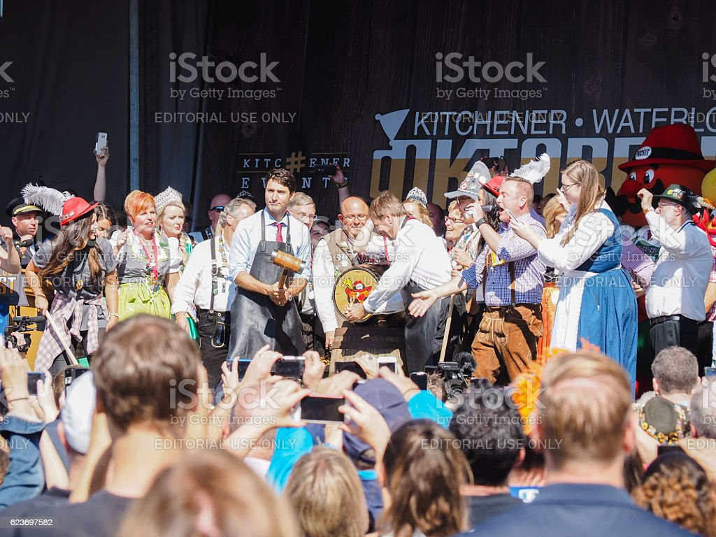PM Justin Trudeau at Oktoberfest stock photo