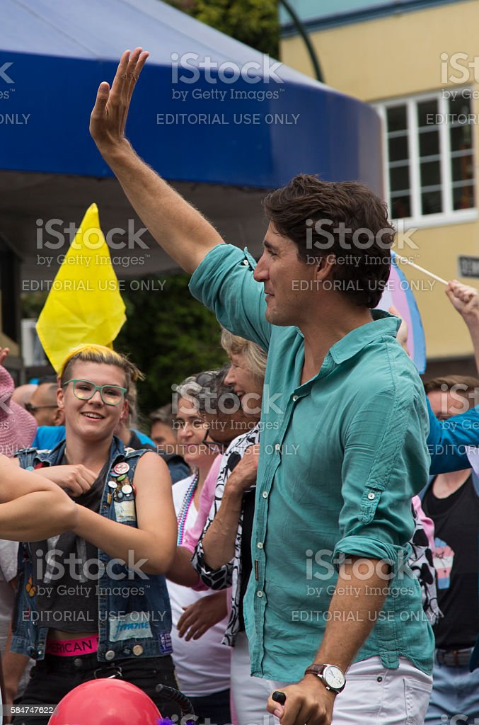 Justin Trudeau is greeting people at Pride Parade, Vancouver, 2016 stock photo