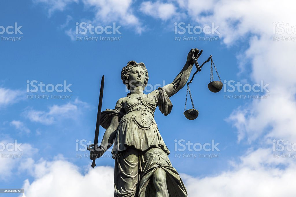 Justitia, a monument in Frankfurt, Germany stock photo