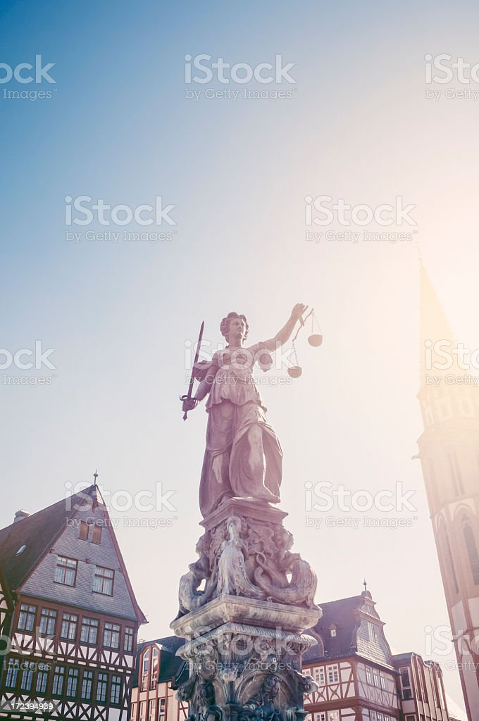 Justitia fountain in Frankfurt am Main stock photo