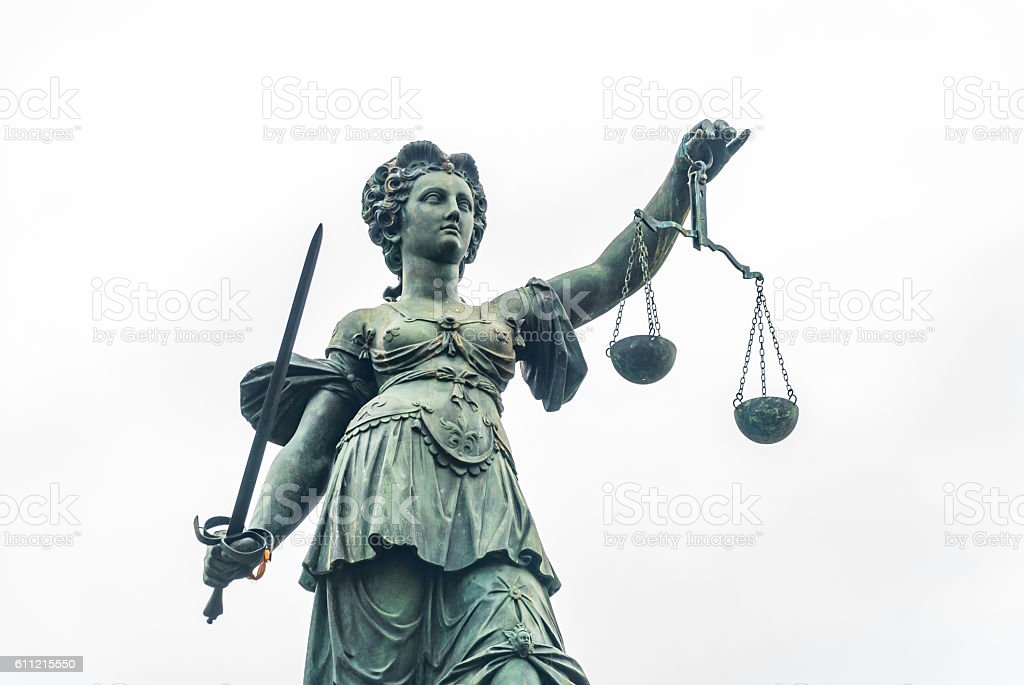 Justitia Frankfurt stock photo