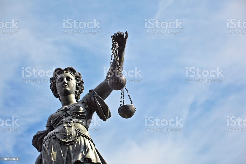 Justitia - Lady Justice - sculpture on the Roemerberg stock photo