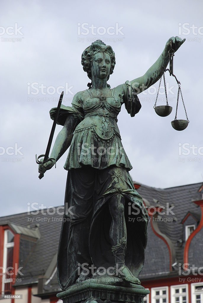 Justitia Statue - Frankfurt stock photo