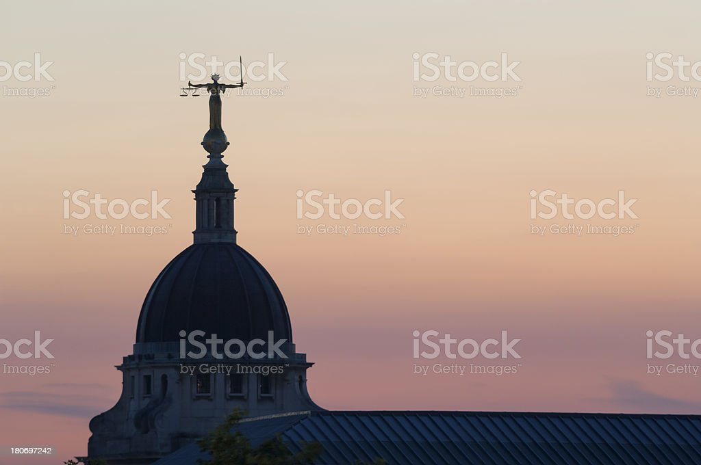 Justitia statue on Old Bailey London royalty-free stock photo