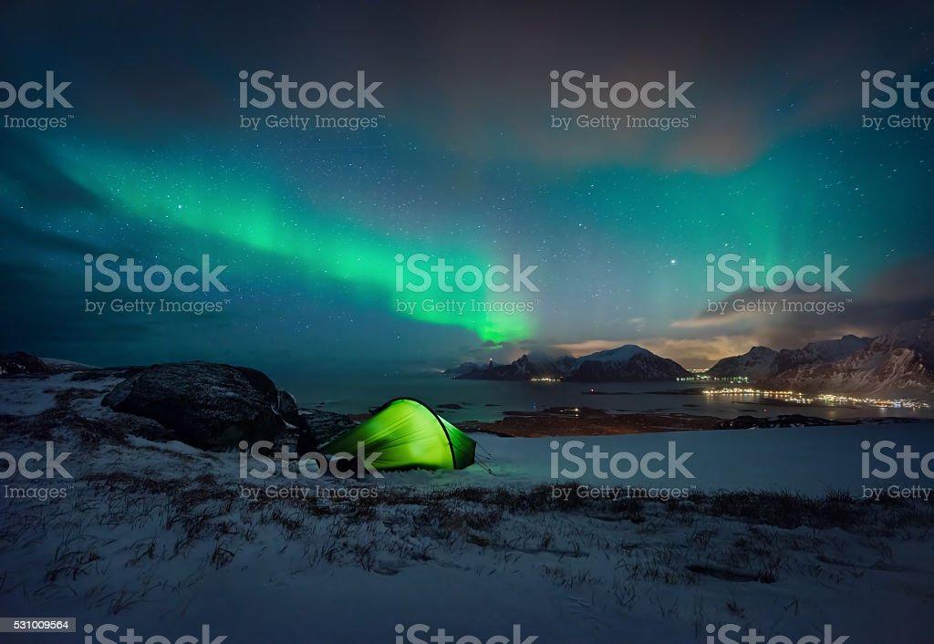 Justnes aurora stock photo