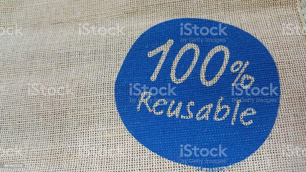 Jute bag and handprinted logo stock photo