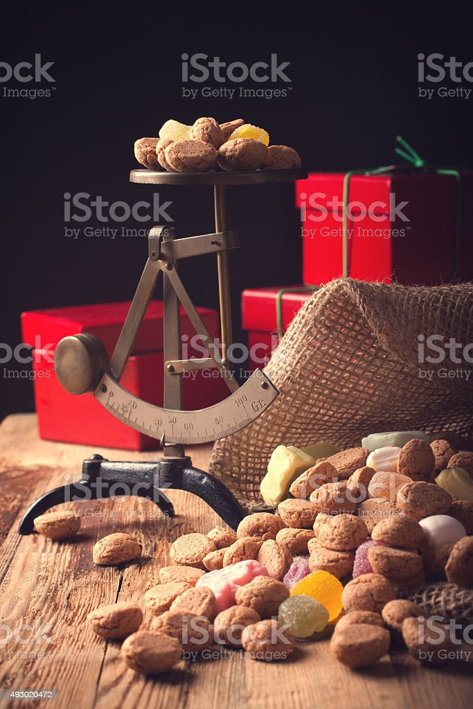 Jute bag with pepernoten stock photo