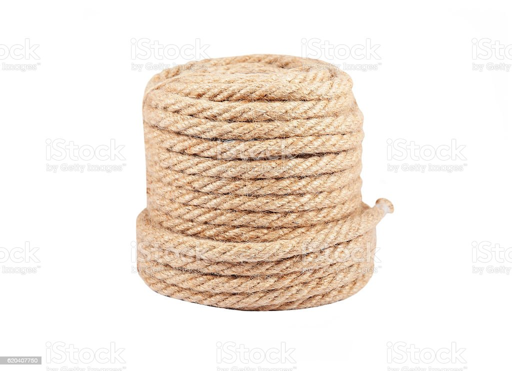 Jute rope coil stock photo