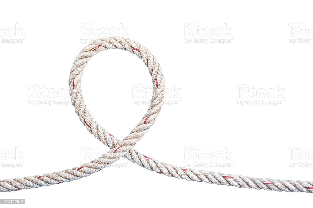 jute rope with knot isolated on white background stock photo