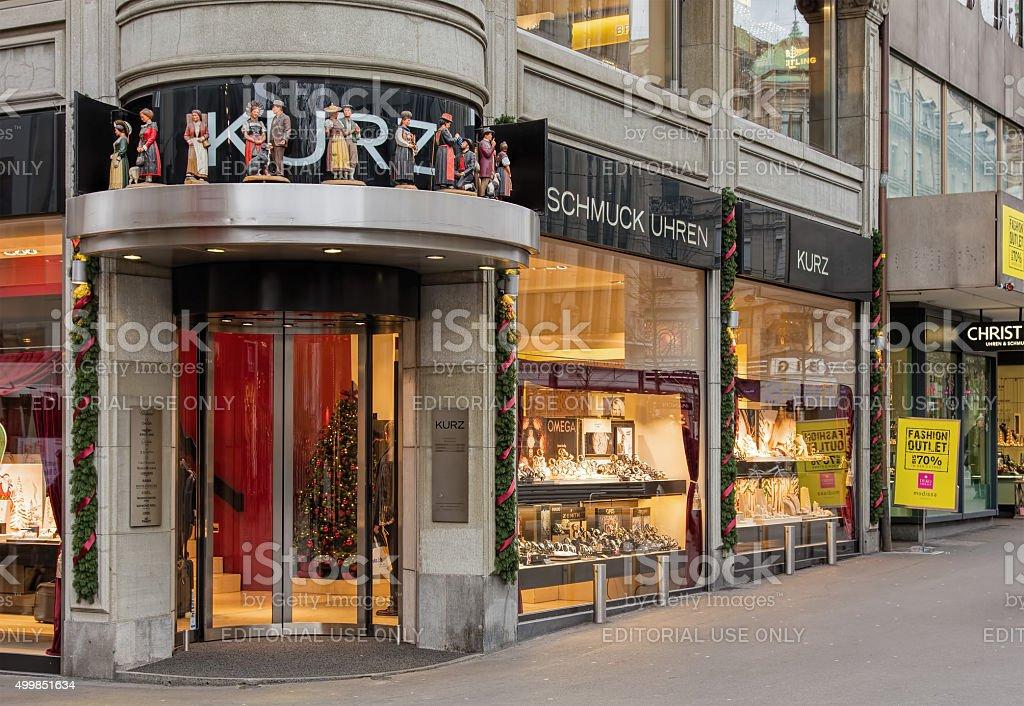 Juwelier Kurz store in Zurich stock photo