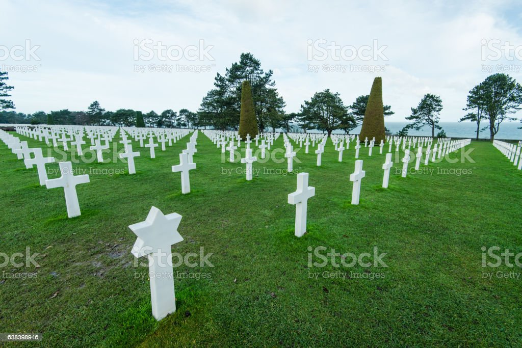 Jwish star on World War Cemetery in Normandy stock photo