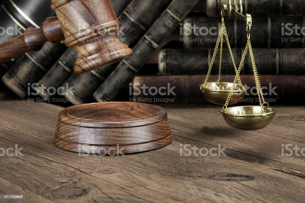 Jydges Gavel, Legal Code And Scales Of Justice Closeup stock photo