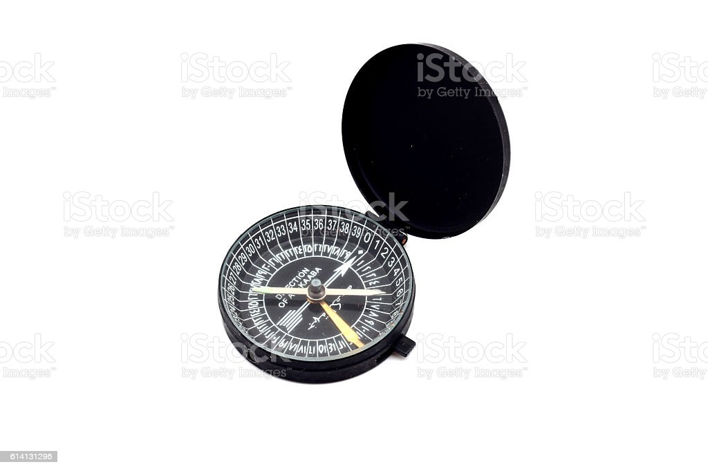 Kaaba Compass isolated on white background stock photo