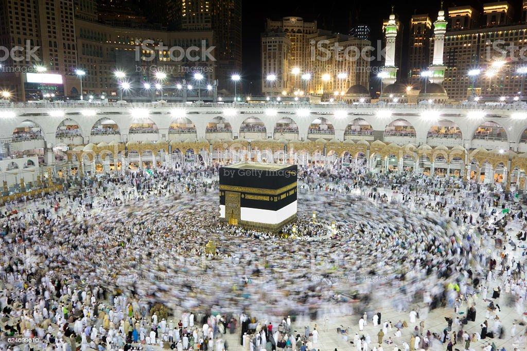 Kaaba in Mecca Saudi Arabia at Night stock photo
